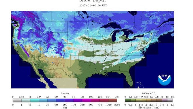 Us Snow Coverage Map Snow is on the ground in 49 of 50 states