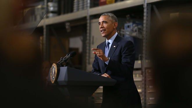 President Barack Obama delivers a speech at Cedar Falls Utilities in Cedar Falls, Iowa, Jan. 14, 2015.