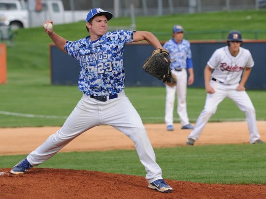 North White pitcher Caleb Hendress Monday afternoon