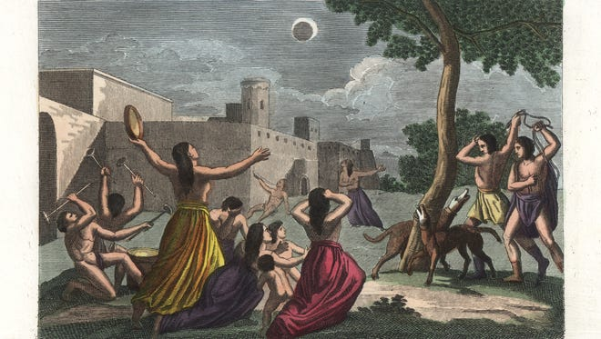 The despair of the sun-worshipping Peruvian Incas during a lunar eclipse. The people bang drums and tambourines, whip dogs and scream to prevent the eclipse. Hand colored copperplate engraving by Nasi from Giulio Ferrrario's Costumes Antique and Modern of All Peoples (Il Costume Antico e Moderno di Tutti i Popoli), Florence, 1842.
