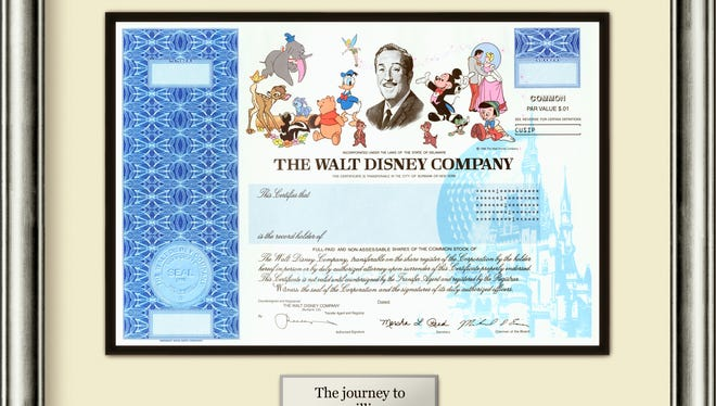 A single share of stock from The Walt Disney Co. The certificates of stock, which features images of Dumbo, Bambi, Mickey Mouse, Cinderella and other Disney animated characters, have long been a collector's item and have been pitched by numerous online vendors as a way to teach children about investing.