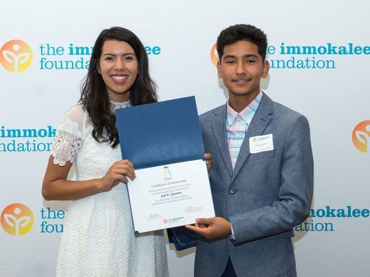 Maria Plata, a former Immokalee Foundation Take Stock student, and Joel E. Guerrero, who will be in ninth grade in the fall and first learned about The Immokalee Foundation and what it could mean to his future in sixth grade.