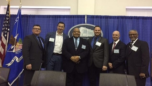 A six-man contingent from York County attended a recent DOJ conference in Washington D.C. about building community trust and relationships. From left: Northern Regional Police Chief Mark Bentzel; the Rev. Aaron Anderson; the Rev. William Kerney; Pastor Paul Atkinson; Springettsbury Twp. Police Chief Dan Stump; and Bishop Carl Scott. (Photo courtesy of Springettsbury Twp. Police)