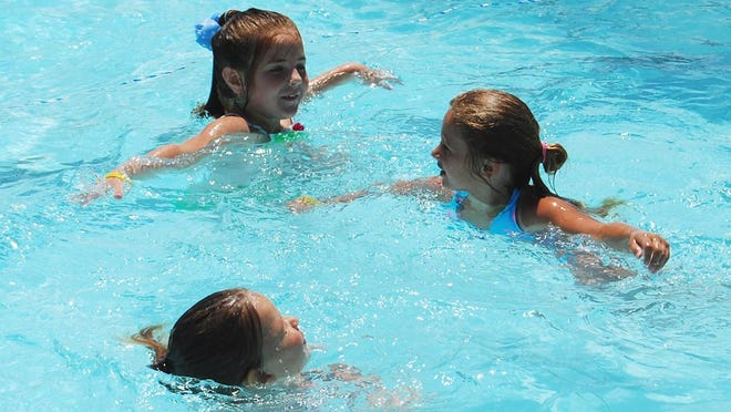 Marty Whitacre/Contributor Chloe Donithan, 6, top, of Burlington, Riley King, 6, right, of Burlington and Kenady Baker, 4, bottom, of Florence practice their synchronized swimming at the R.C. Durr YMCA pool on Sunday, June 8 in Burlington.