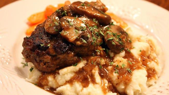 Salisbury Steak with Onion and Mushroom Gravy.