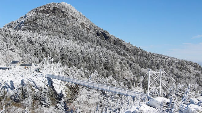 The Mile High Swinging Bridge at Grandfather Mountain stands covered with snow and ice on Feb. 17.