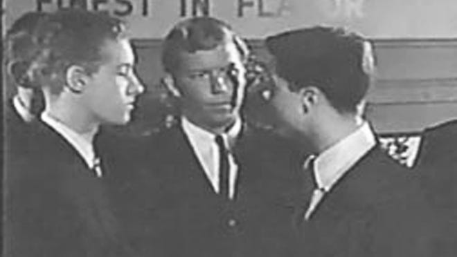 The Crossdraw Kid appears in an episode of Leave it to Beaver, alongside Dow (on the right).