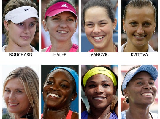 FILE - These are 2014, file photos,  showing some of the top women's players expected to play at the 2014 U.S. Open tennis tournament. From top left are: Eugenie Bouchard, Simona Halep, Ana Ivanovic and Petra Kvitova. From bottom left are: Maria Sharapova, Sloane Stephens, Serena Williams and Venus Williams. (AP Photo/File)