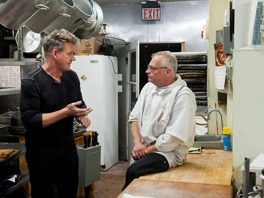 Gordon Ramsay with Bella Gianna's chef Louis Cilento in Congers.