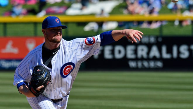 Feb 27, 2018; Mesa, AZ, USA; Chicago Cubs pitcher Jon Lester (34) throws during the first inning against the Chicago White Sox at Sloan Park. Mandatory Credit: Matt Kartozian-USA TODAY Sports ORG XMIT: USATSI-377901 ORIG FILE ID:  20180227_ads_ak4_186.JPG