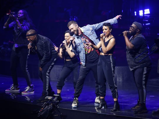 Justin Timberlake performs at Talking Stick Resort Arena during the Man of the Woods Tour in Phoenix, Ariz. May 2, 2018.