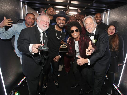 (L-R) Executive producer Ken Ehrlich, music producer Philip Lawrence, Album of the Year winner Bruno Mars, and the Recording Academy and MusiCares President/CEO Neil Portnow attend the 60th Annual GRAMMY Awards at Madison Square Garden on January 28, 2018 in New York City.
