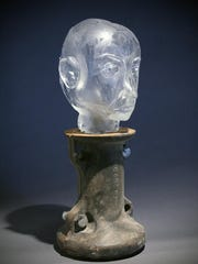 """""""Edvard as an Old Man,"""" sculpted glass by Jeremy Popelka, part of the seventh annual Door Prize for Portraiture exhibit at the Miller Art Museum."""