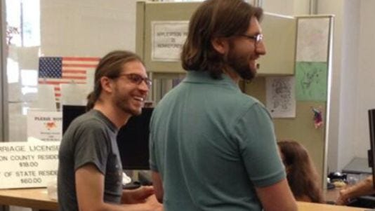 Couples seek marriage licenses arrived at the Marion County clerk office soon after the ruling.