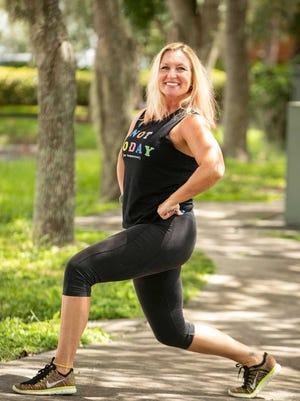 Marlo Alleva demonstrates a step back lunge.
