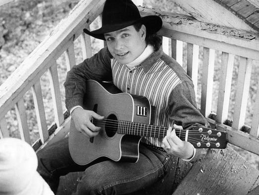 Garth Brooks was born on Feb. 7, 1962 and was country's biggest superstar throughout the 1990s. Click ahead to see photos of him over the years. This is an early publicity photo of singer-songwriter Garth Brooks.