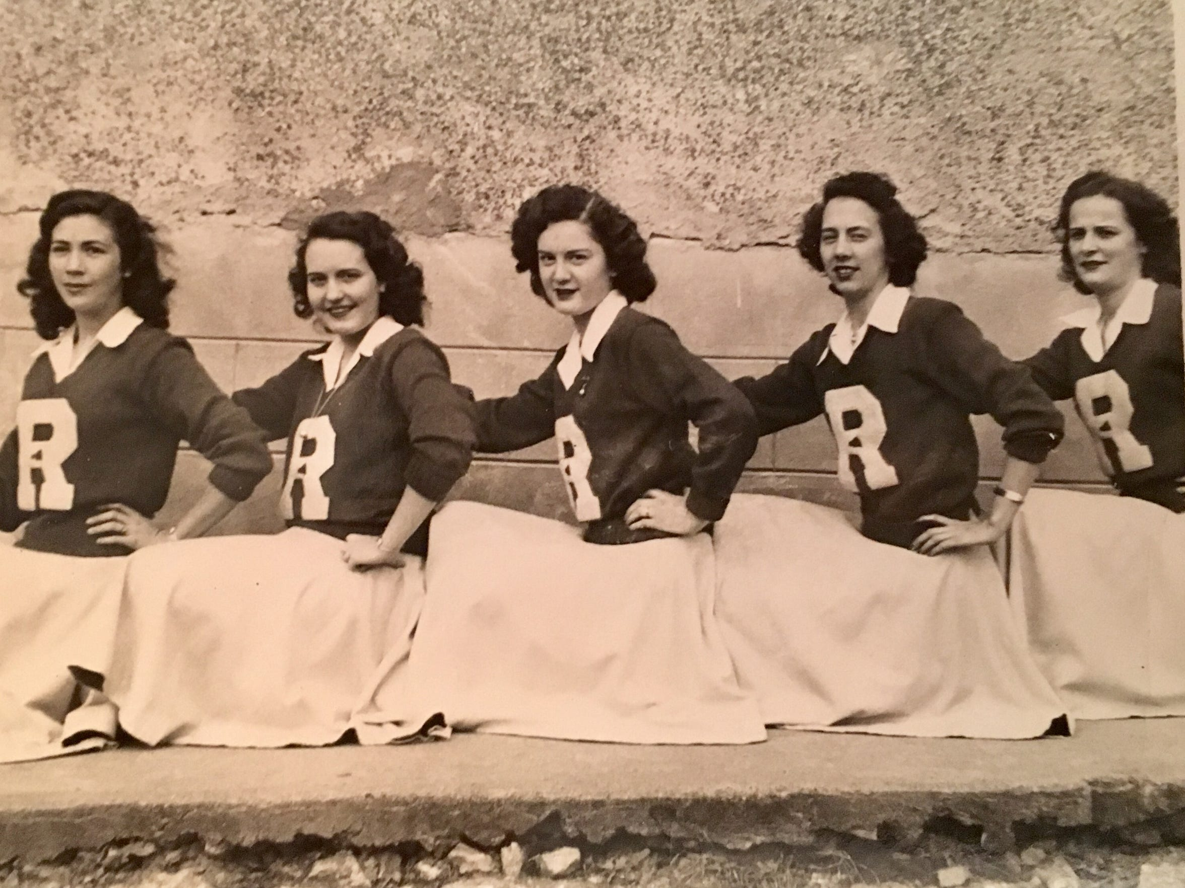 Cheerleaders for the Class of 1950 at Renaker High School included Helen Barnes, far right, who was valedictorian of her class.