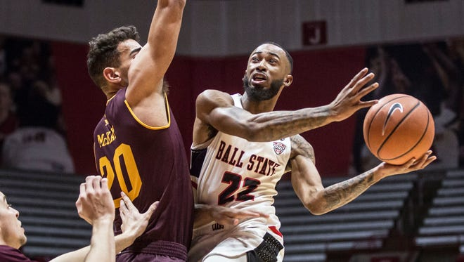 Ball State's Jeremie Tyler charges into the defense to attempt a layup on Jan. 16 during a game against Central Michigan in Worthen Arena. Ball State won the game 82-76.