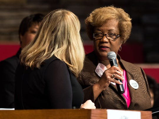 "Paulette Coleman, right, speaks with Mayor Megan Barry, left, during the Nashville Organized for Action and Hope's ""Speak Loudly, Nashville!"" event at The Temple Church in Nashville on Oct. 29, 2017."