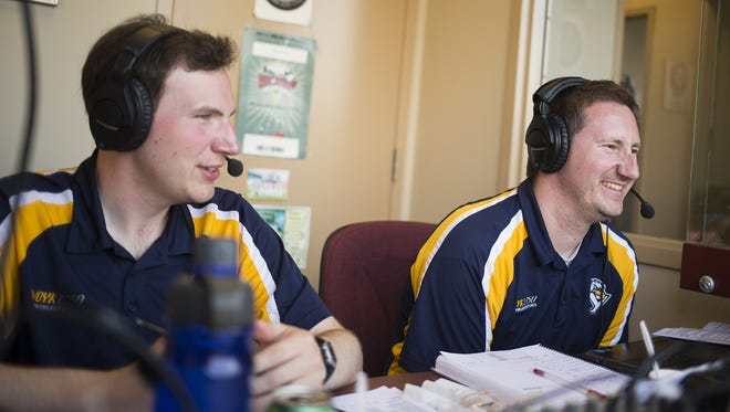 York Revolution play-by-play announcer Darrell Henry, right, and broadcasting intern Will DeBoer work a York Revolution game at PeoplesBank Park in York on June 3. Henry has announced nearly every game for the Revs as the team is currently in its 10th year of existence.