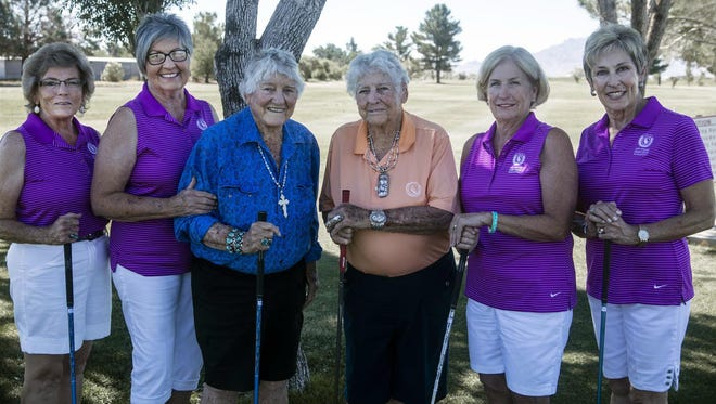 Members of the Rio Mimbres chapter of the Border Ladies Golf Association are, from left, Mary Wood, Jane Spruiell, Gerry and Gert Kretek, Jean Troxel and Claudia Jeffreys.
