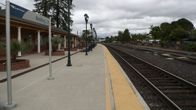 On Yuba Street in Redding, the Amtrak Coast Starlight train passes through twice a day and is one of the stops that could go away if the Department of Transportation eliminates federal funding for long-distance services.