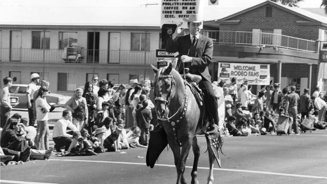 Congressmen John Conlan in the 1973 Jaycees parade in Phoenix.
