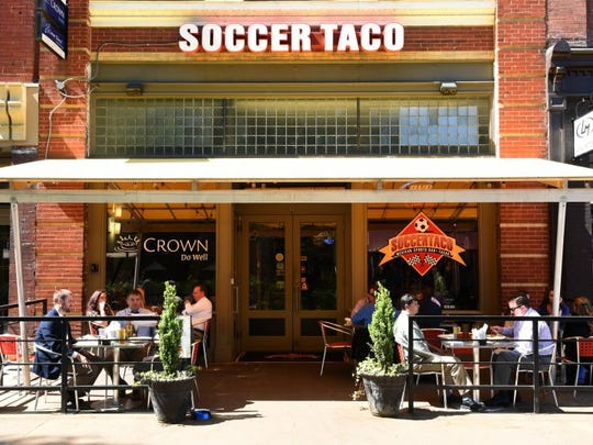 Soccer Taco lunchtime patio crowd