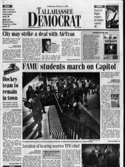 Current Tallahassee mayor Andrew Gillum made his first appearances in the Democrat in Febburary 2000, as a FAMU student leader organizing protests against Gov. Jeb Bush's ending of affirmative action guidelines.