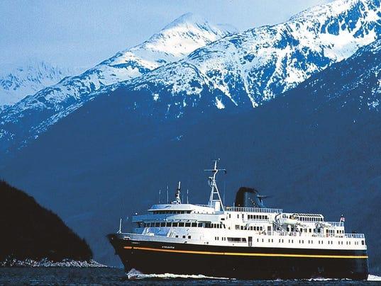 Ferry travels along Alaska's coastline
