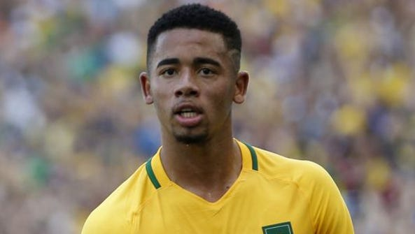 Gabriel Jesus celebrates one of his two goals for Brazil