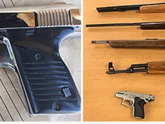 These guns were confiscated Thursday during a gang