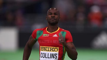 Kim Collins of Saint Kitts and Nevis  competes during the 60 meters semi-final at the IAAF World Indoor athletic championships in Portland, Oregon on March 18.