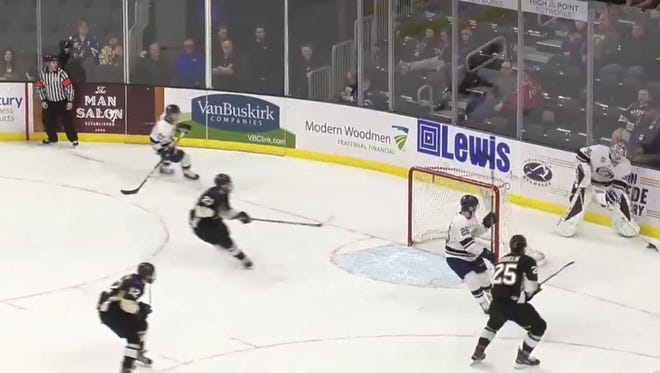 Mikhail Berdin scores for the Stampede on Saturday night.