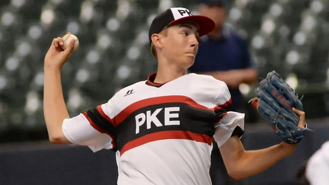 Pewaukee's Parker Heidorf pitches for Pewaukee in a game at Miller Park earlier this year. The Pirates have employed the retro White Sox uniform look this year, and they're not the only ones turning back the clock.