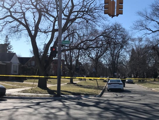 Detroit police tape of the scene at a home 15000 block