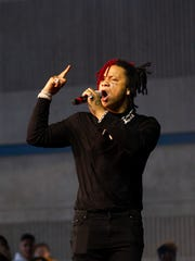 Trippie Redd performs at the American Family Insurance