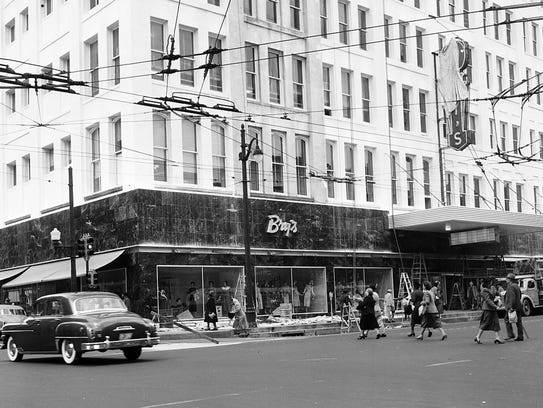 The scene at Bry's on March 2, 1951 as the store was