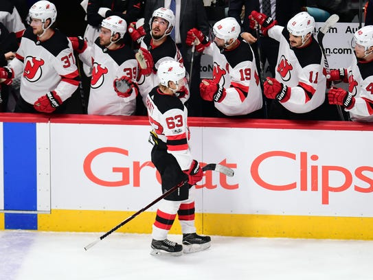 New Jersey Devils left wing Jesper Bratt (63) celebrates