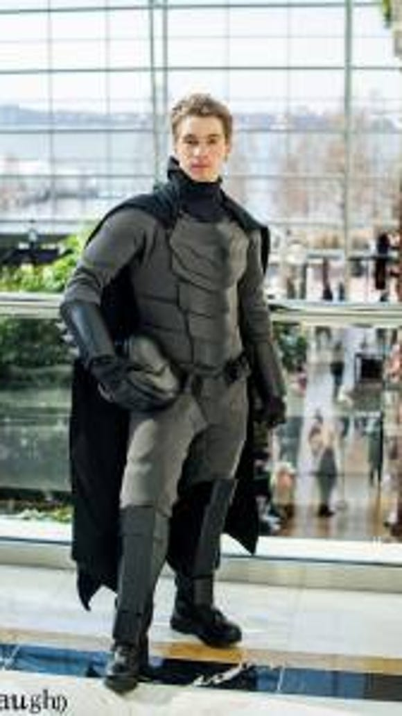 Jackson Gordon poses in his Batsuit (Photo by Vaughn Photography)
