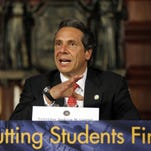 Gov. Andrew Cuomo speaks during a New NY Education Reform Commission meeting at the Capitol in Albany in 2012. Over the years, the governor has sparred with the state's teachers union and others over education reform.