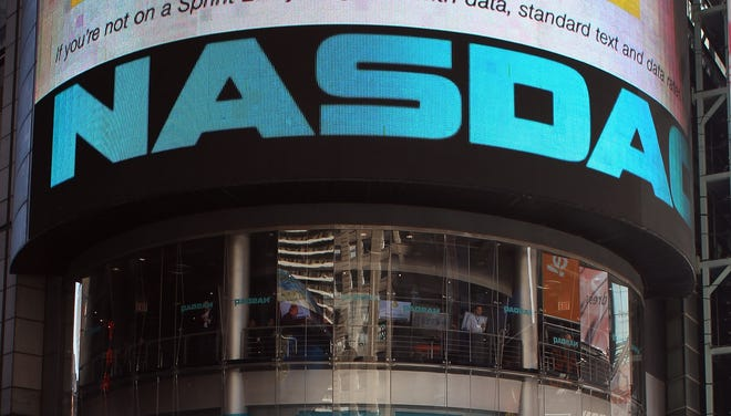 The Nasdaq stock market at Times Square  in New York City.