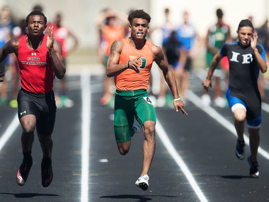 Dunbar High School's Deven Tompkins competes recently in the Ida Baker Indoor Outdoor Invitational meet in February at Ida Baker High School in Cape Coral.