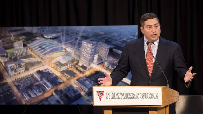 Milwaukee Bucks President Peter Feigin speaks at a press conference where a new arena proposal was announced.