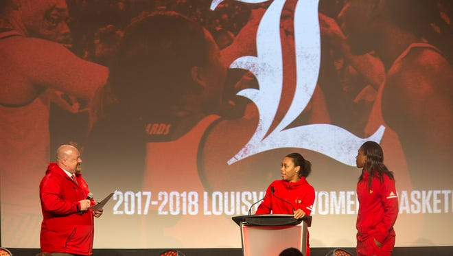 Louisville women's basketball player Asia Durr, center and Myisha Hines-Allen, right,  were interviewed by Sean Moth during the Tipoff Luncheon for the 2017-18 season. Oct. 23, 2017.