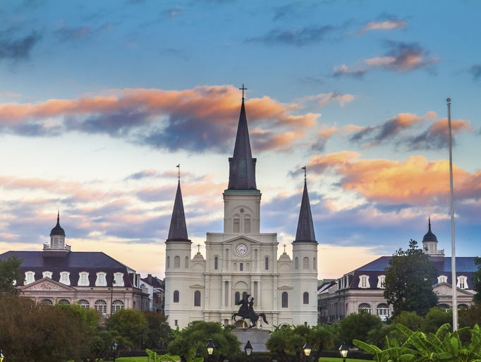Overlooking Jackson Square in the French                                                          Quarter, the                                                          Cathedral