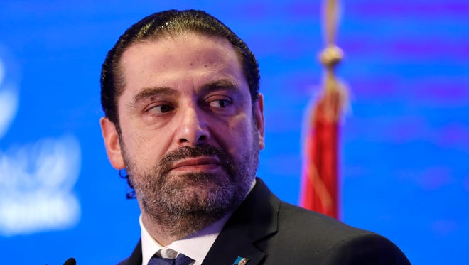 In this Nov. 23, 2017 file photo, Lebanese Prime Minister Saad Hariri speaks during a regional banking conference, in Beirut, Lebanon.