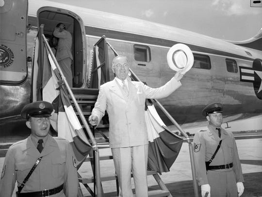 President Harry S. Truman in front of an airplane in Springfield, Mo. on July 5, 1948. President Truman was attending the dedication ceremonies of a Simon Bolivar statue in Bolivar.