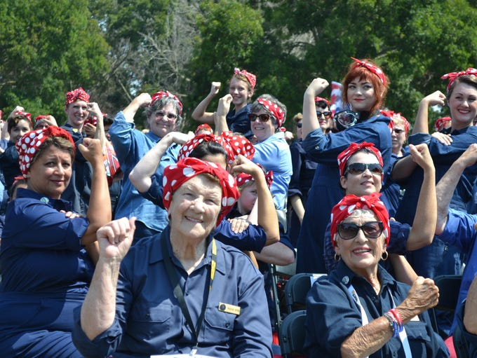 """""""We can do it!"""" Rosie the Riveters of all ages break"""