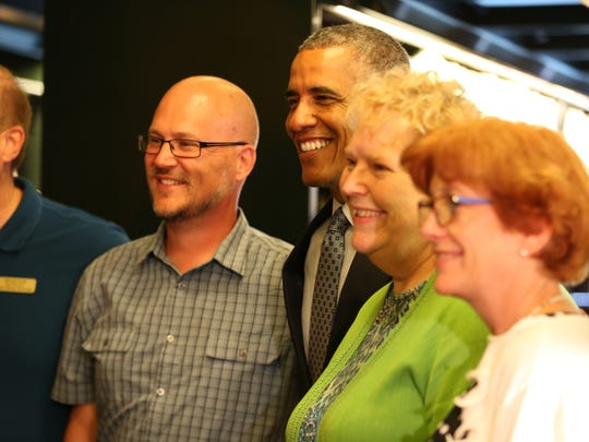 President Obama made a stop at the State Library of